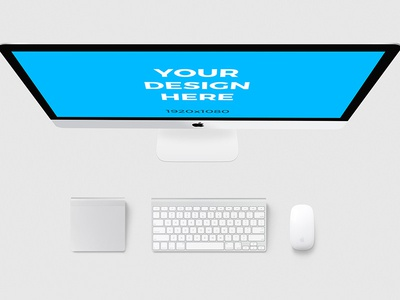 iMac with accessories - Free Mockup