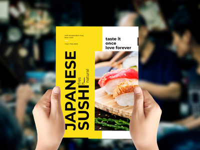 🍣 Sushi flyer mockup template smartmockups placeit print flyer hands
