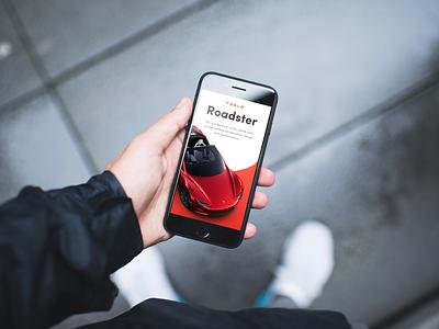 🚗 Tesla Roadster mockup template smartmockups placeit mobile ui iphone 8 interface