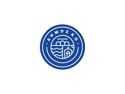 Municipality - Kos logo proposal illustrator blue badge minimal brand logo design greece