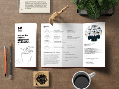 Brochure for Robotic solutions illustration minimal branding cloud robotics robot artificial intelligence robotics print design brochure design