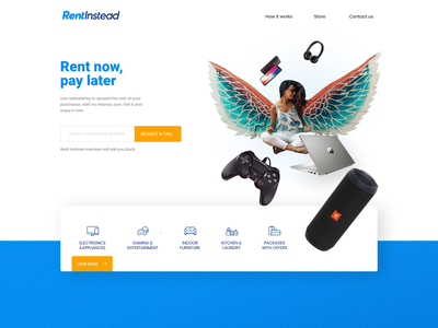 Landing page for Rental management webapp responsive branding e-commerce shop rental minimal website design landing page shibupavizha
