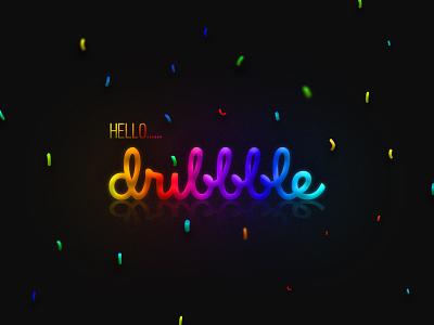 Hello Dribbble! colourful shot art gradient thanks first shot invitation design creative dribbble debut