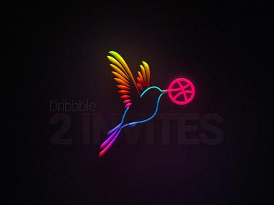 Dribbble Invites talent creative shibupavizha illustration colourful invitation bird invite dribbble available