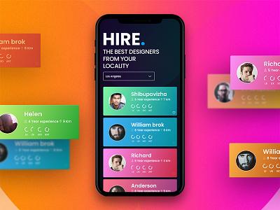 A Complete iOS App for Hiring Designers dark theme interactive prototype app design floating menu profile colourful uiux hiring app ios