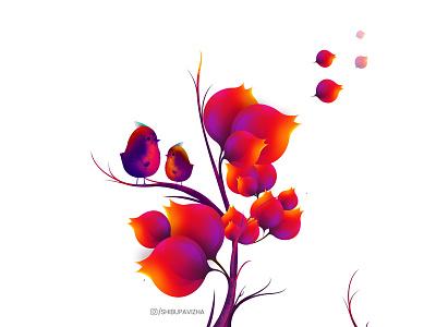 Nature is the art of God (Digital Art) forest colourful nature photoshop birds leaves digital art illustration
