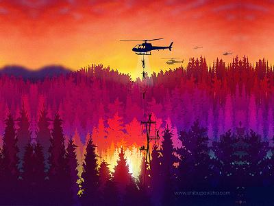 Into the woods (Digital Illustration) vectorart art forest colourful nature photoshop travel firecamp digital art illustration