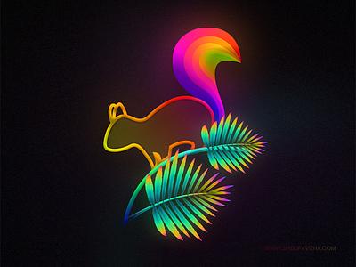 Gradient Art Series - Squirrel colourful illustration artist colourful nature photoshop animal squirrel digital art illustration
