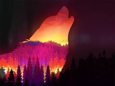 The Wolf forest colourful nature photoshop wolf leaves digital art illustration