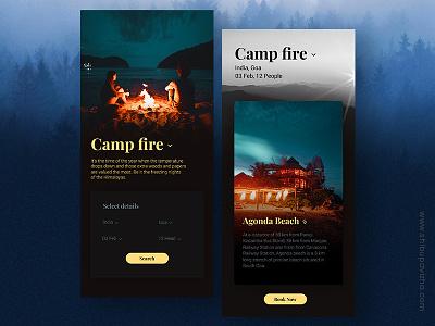 App for Exploring Adventurous Places interactive uiux shibupavizha vibrant darktheme uidesign userinterface interactiondesign ios bookingapp travel appdesign