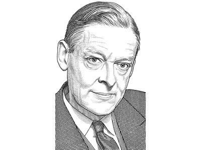 T. S. Eliot pen ink portrait stipple hedcut