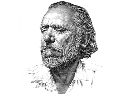 Charles Bukowski pen and ink black and white portrait lineart