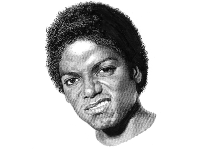 Michael Jackson pen and ink black and white portrait lineart