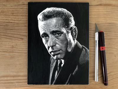Humphrey Bogart black and white noir scratchboard pen and ink lineart portrait
