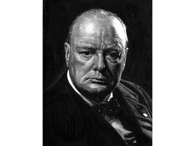 Winston Churchill scratchboard handdrawn black and white illustration hedcut line art pen ink