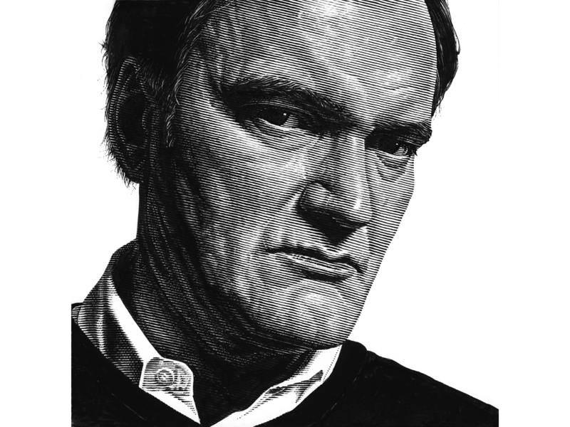 Quentin Tarantino engraving ink black and white portrait pen and ink lineart line art scratchboard