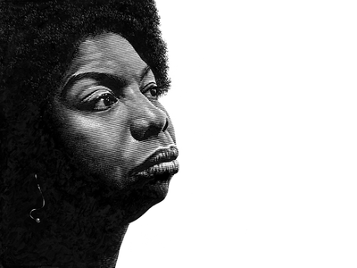 Nina Simone line art famous black and white hand drawn illustration pen and ink portrait lineart scratchboard