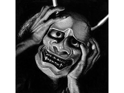 Onibaba mask japan black and white pen and ink line art scratchboard