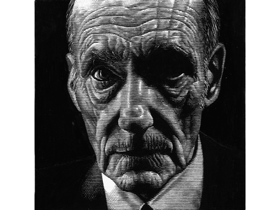 William Burroughs black and white scratchboard portrait line art lineart pen and ink