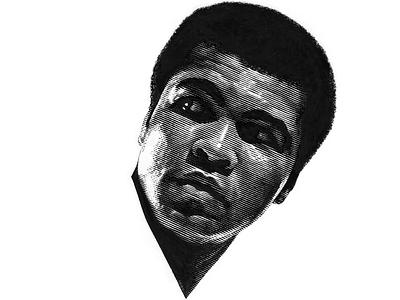 Muhammad Ali scratchboard pen and ink line art