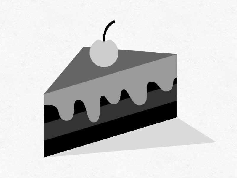 Piece of Cake bw blackandwhite logo icon illustration cake