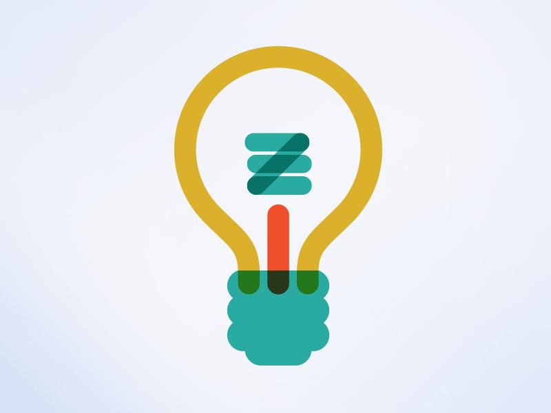 Lightbulb shapes simple colorful icons illustration lightbulb