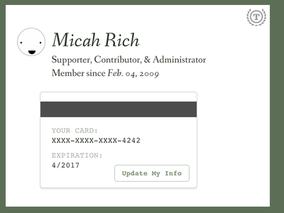 Embeddable Profiles typography credit card