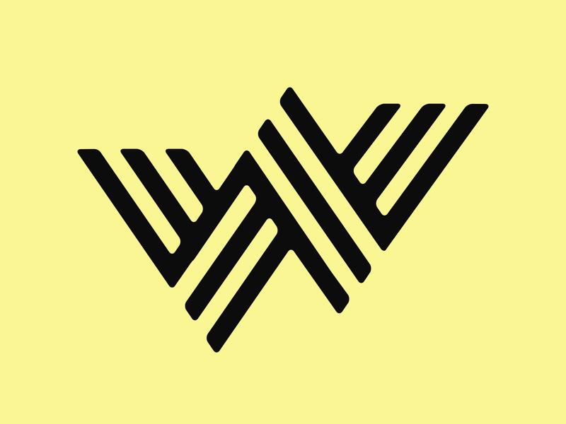 Weev Logo yellow weave w flat branding logo design