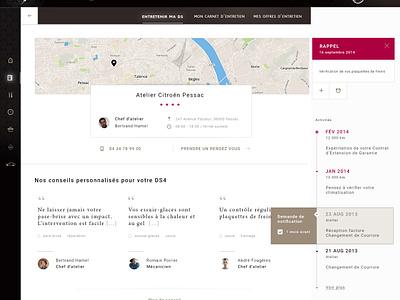 Citroën DS - Dashboard dashboard car citroen ux luxe data contact timeline parking adress drive