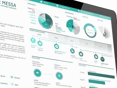 Florent Messa Resume  cv timeline experience paris developer infographic resume skills curriculum-vitae back end gobelins