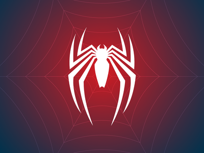 Spiderman Logo white blue and red spidey vector spider web spider-man marvel insomniac ps4 playstation brand logo gradient graphic background illustration design