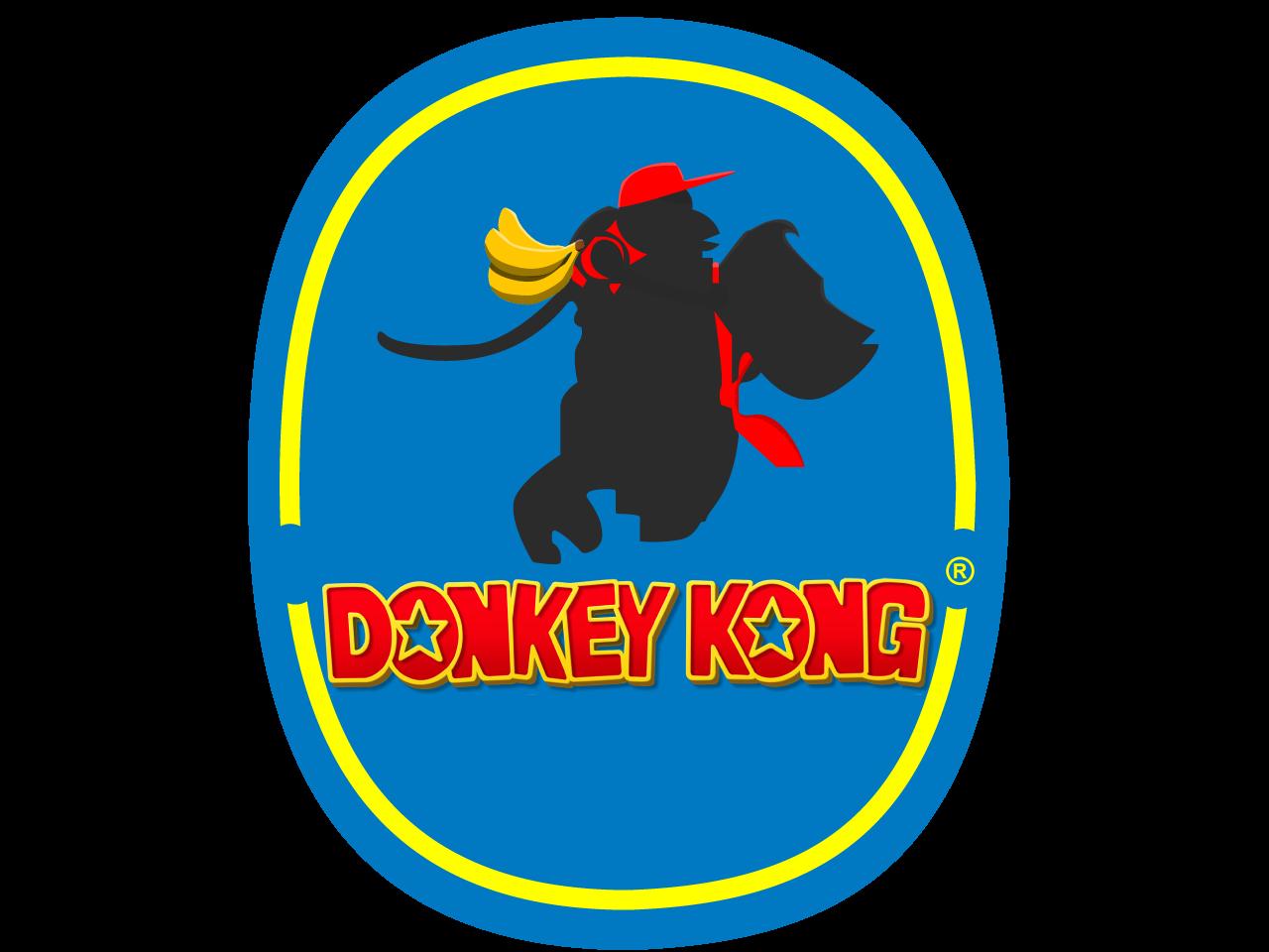 Donkey Kong Banana Company Logo produce fruits bananas donkey kong nintendo graphic design blue logo designer brand icon illustrator color adobe digital branding illustration vector graphic design