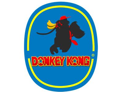 Donkey Kong Banana Company Logo produce fruits bananas donkey kong nintendo graphic design blue logo designer brand icon illustrator color adobe digital branding illustration vector graphic design