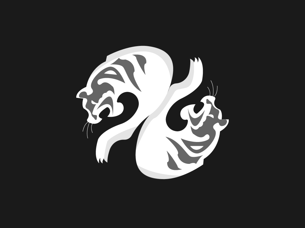 Tiger Talisman illustrator fangs claws stripes vector adobe digital 2d digital color identity icon white and black white twin chinese new year zodiac sign animal tiger art illustration