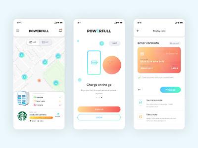 Powerfull - Powerbank Rent App map uae powerbank charge rent ui mobile app