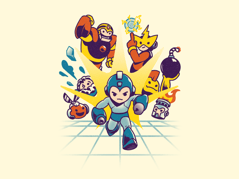 Rokku Run old school video games megaman tshirt illustration