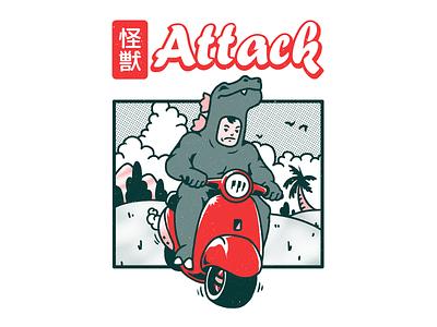 Kaiju Attack godzilla akira toriyama kaiju scooter vespa dinosaur pop culture graphic tee tshirt illustration