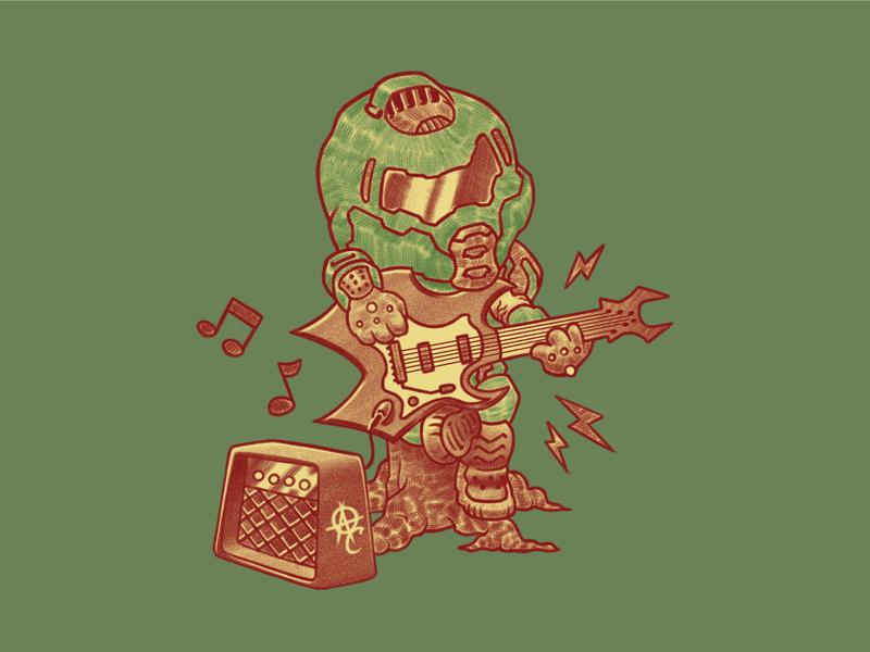 K.K. Slayer rock music video games eternal doom animal crossing graphic tee tshirt illustration