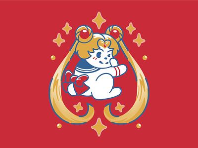 Sailor Usagi sailor moon otaku magical moon guardian sparkle anime superheroes kawaii cute rabbit bunny graphic tee tshirt illustration