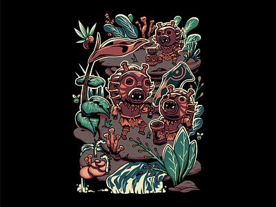 Mischievous Folks pop culture hunting monster hunter tribe monster hunter world video games monster hunter graphic tee tshirt illustration