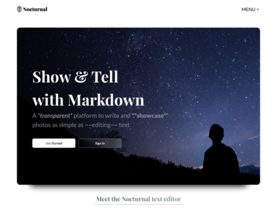 Nocturnal Landing Page editor text markdown design page landing ux ui website