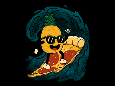 Surf Up design art tee design graphic tee shirt hawaiian pizza skateboard surfer surfing surf pineapple