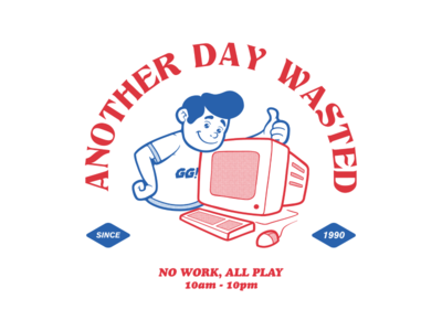Another Day Wasted tees merch thumbs up gg gamer casual carefree computer internet illustration tshirt art design tee tshirt