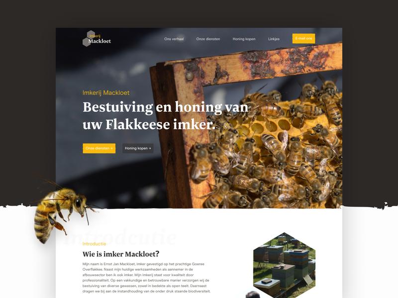 Beekeeper Mackloet website hero banner hero image pattern yellow clean webdesign web website minimal branding business beekeeping bees bee beekeeper