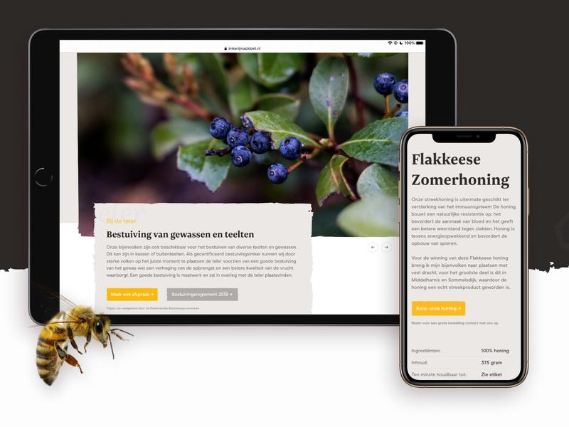 Imkerij Mackloet, local beekeeper - Services typography carousel brown yellow website web pattern minimal raw cards clean business branding bees beekeeping beekeeper bee