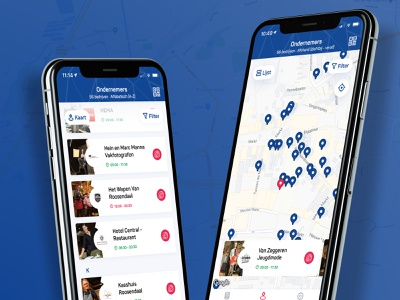 ROOS24 Loyalty app - Store overview city loyalty app loyalty tourist list view location cards rose red blue ui ux mobile guide planner points point of interest poi maps map