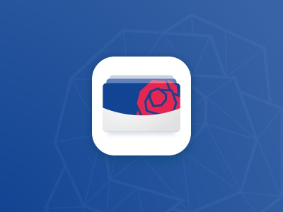 ROOS24 Loyalty app - App Icon cards icon squircle line art blue red rose loyalty card icon logo design logo community floating cards passes pass dutch brand brand identity ios app icon ios app