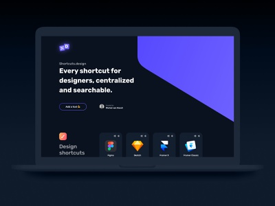 Shortcuts.design V2 - Sneak Peek dark theme dark blue dark ui dark mode darkmode ux design ui design shortcuts open source gradient blue grid layout grid overview tools ux ui interface website responsive