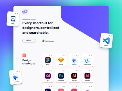 Shortcuts.design V2 - Home tools overview header hero svg responsive tools overview card overview open source shortcuts dark mode logo cards card gradient