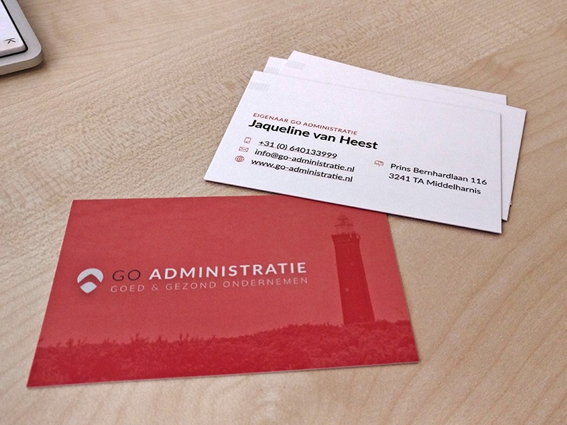 Businesscard GO Adminstratie accountancy accountant financial administration print design business business card